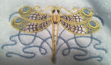 CELTIC DRAGONFLY SET 2 HAND TOWELS EMBROIDERED
