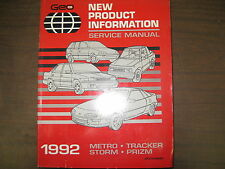 1992 GEO STORM,METRO,TRACKER &PRIZM NEW PRODUCT INFORMATION GUIDE
