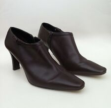 """M&S Brown Leather Wider Fit Shoe Boots Size UK 4 EU 37 - 2.75"""" Heels WORN ONCE"""