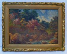 1921 JAPAN EARLY IMPRESSIONIST LANDSCAPE OIL PAINTING - SIGNED ASIAN