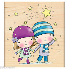 New Penny Black STAR GAZING Wood Rubber Stamp Christmas Girl Winter Snow Friends