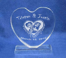 Engraved Corpse Bride Crystal Heart Wedding Cake Topper  NEW