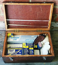 Interesting Vintage Wooden Medical First Aid Box & Contents - Dressings/Bandages