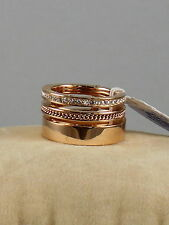 Michael Kors Rose Goldtone BRILLIANCE Pave' Chain Inlay Stack Ring Sz 6 MKJ5838
