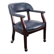 Conference Room Chairs - Navy Blue Vinyl Chair on Casters