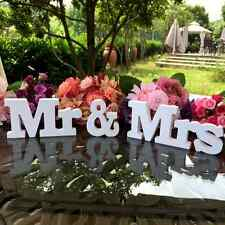 Wedding Reception Sign Solid Wooden Letters Mr & Mrs Standing Top Table Decor