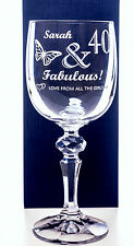Personalised BIRTHDAY FABULOUS Mirelle Wine Glass Gift for 40th/50th/60th/65th