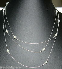 """60"""" Sterling Silver 925 Chain & Beads with Freshwater Pearls Fine Long NECKLACE"""