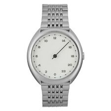 slow O 01 - Swiss Made one-hand 24 hour watch - Silver steel Unisex