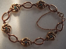 Fine Antique Art Deco Solid 10k Rose Gold Turquoise Glass Charm Link Bracelet 9g