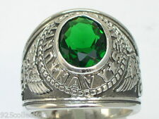 12x10 mm United States Navy Military May Green Emerald Stone Men Ring Size 15