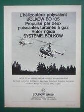 10/1968 PUB BOLKOW HELICOPTERE BO 105 HELICOPTER HUBSCHRAUBER MAN FRENCH AD