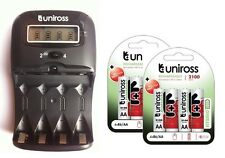 UNiROSS LCD 1-2 HOUR AA/AAA CHARGER & 8 x AA 2100 Series Hybrio Rechargeables
