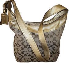 COACH SUPER LONG HANDLE KHAKI/ GOLD SIGNATURE  HOBO Bag #12365