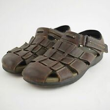 CLARKS Brown Leather Closed Toe Strap Sandals - Hiking Trail Shoes - Men's 14 M