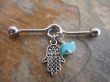 Hamsa Hand with Turquoise Chip Industrial Barbell Scaffold 32mm 35mm 38mm