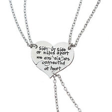 3Pcs Part Side By Side Best Friends Sisters Friendship Forever Necklace Set Gift