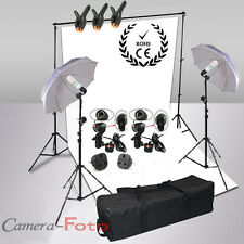 Photo Studio Continuous Lighting Kit White Backdrop Background Stand Support Set