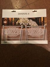 DAVID TUTERA MR. AND MRS. Die Cut Lace Paper Signs Wedding Chair Decoration