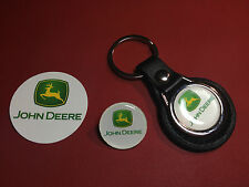 JOHN DEERE : LEATHER KEY RING,    SILVER PLATED BADGE  +    PHONE STICKER