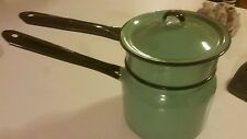 Vintage Enamelware Double Boiler 50's Teal Blue Classic Look EUC Fallout Style