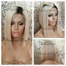 Human Virgin Hair Blonde Ombre Asymmetrical Beyonce Bob Glueless Lace Front Wig