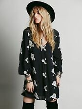 125401 New $148 Free People Embroidered Austin Black Tunic Dress Small S
