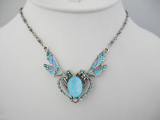 NEW  ANNE KOPLIK DOUBLE DRAGONFLY SWAROVSKI CRYSTAL & ENAMEL NECKLACE BLUE