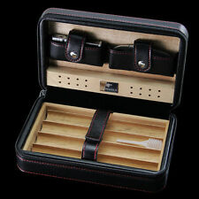 COHIBA Black Leather Spanish Cedar Cigar Case Humidor W/ Cutter Lighter 4 Count