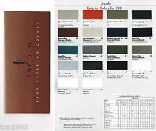 2001 LINCOLN COLOR Chip CHART Paint Brochure:CONTINENTAL,TOWN CAR,LS,NAVIGATOR,