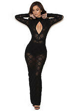 "HOUSE OF CB 'Sana' Black Bandage and Sheer Mesh Maxi Dress ""Faulty"" 1600"