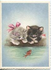 VINTAGE FLUFFY GIRL GRAY TUXEDO BLACK WHITE KITTENS CAT GOLDFISH POND CARD PRINT