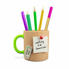 Novelty Memo Board Mug Cork Pen Pot Stationary Desk Tidy Pin Valentines Day NEW