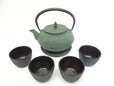 Vintage Set of Used Green Cast Iron Metal Tea Service Set Cups Pot Strainer.