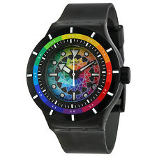 Swatch Chromatic Water Multi-Colored Dial Black Silicone Rubber Unisex Watch ...