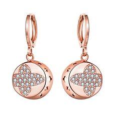 Fashion 18K / Rose Gold Plated Zircon Dangle Buckle Hoop Earrings NF