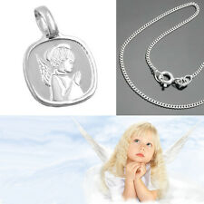 Baby Kinder Schutz Engel Anhänger mit Namen Gravur und Kette Echt Silber 925