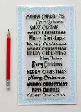 "Clear Stamps Lot (4""x7"" Merry Christmas Vintage Greeting Saying FLONZ 807 Rubber"