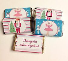 50 CHRISTMAS NUTCRACKER PERSONALIZED MINI CANDY BAR WRAPPERS PARTY FAVORS