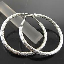 A107 GENUINE REAL 925 STERLING SILVER S/F LADIES RETRO LARGE STUD HOOP EARRINGS