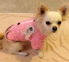 Pink Boucle Coco Girls Dog Coat & Brooch -Teacup Puppy Chihuahua 8inch TINY TINY