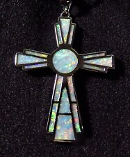 "Sterling 925 Silver SF Pendant & Chain White Lab Fire Opal Large 1 1/2""  CROSS"