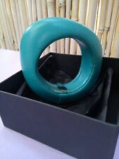 NATALIA BRILLI LARGE BOLD  LEATHER TURQUOISE BRACELET IN BOX