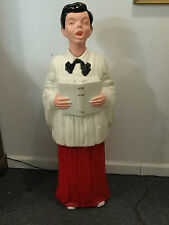 """41"""" Caroler Choir Boy Singer Blow Mold By Noma Extremely Rare 1968 Christmas"""