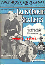 """SEA LEGS Sheet Music """"This Must Be Illegal"""" Jack Oakie Lillian Roth"""