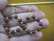 (EE-800-14) Red Jasper 6 mm beaded gemstone hoop dangle circle earrings gold