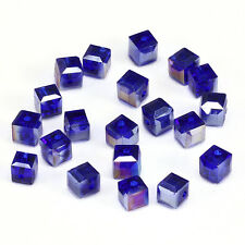 10pcs deepblue ab 8mm Faceted Square Cube Cut glass crystal Spacer beads