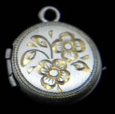 New Sterling Silver Engraved round locket - engraved and inlaid with 24k gold