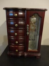 CHERRY FINISH ETCHED GLASS UPRIGHT MUSICAL JEWELRY BOX ARMOIRE JEWELRY ORGANIZER