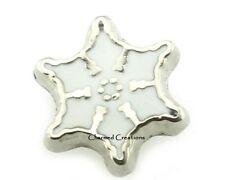 Silver Snowflake Christmas Winter Floating Charm For Living Memory Glass Locket
